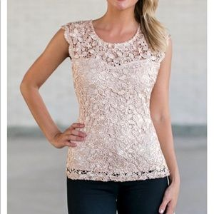 Day or Night Lace Top in Beige